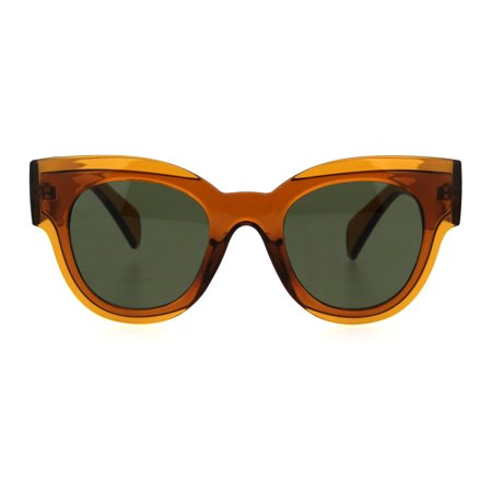Womens Translucent Thick Horn Rim Plastic Retro Fashion Sunglasses Brown Green