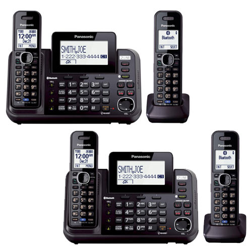 Panasonic KX-TG9542B 2-Line Bluetooth Enabled Digital Cordless Answering Machine w/ 2 Handsets Features (2 Pack)