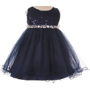 BluNight Collection Lace Decorated Sequins Rhinestone Belt Baby Little Flower Girls Dresses Navy XL