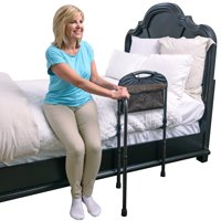 Stander Mobility Adult Home Bed Rail, Elderly Assist Handle, Bed Guard Swing-out Mobility Handrail with Leg Support & Organizer Pouch