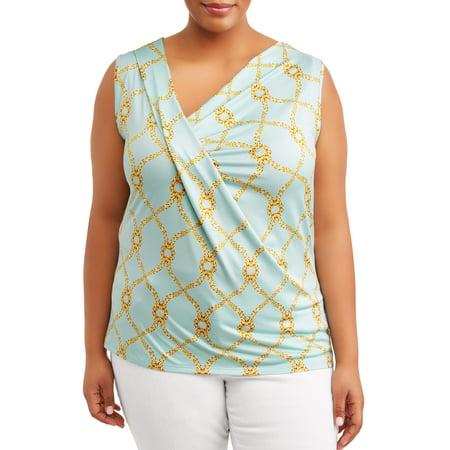 Women's Plus Size Sleeveless Cowl Neck Top