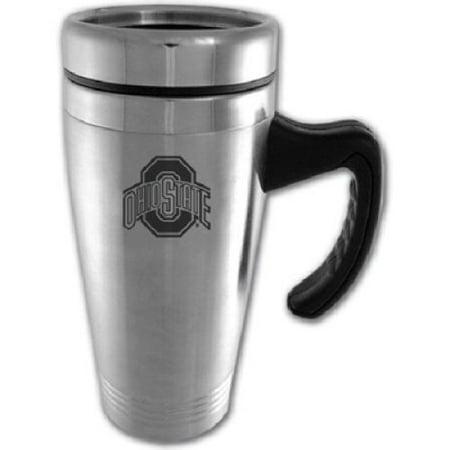 Ohio State Buckeyes Engraved 16oz Stainless Steel Travel Mug - Silver (Engraved Stainless Steel Mug)