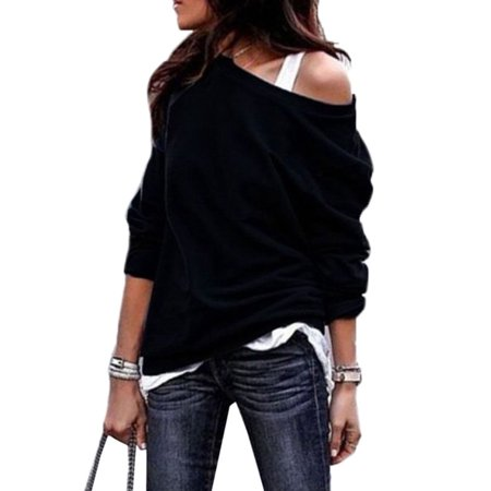 Women One Shoulder Long Sleeve Tops Blouses Ladies Loose Solid Hoodie (Hoody Purse)