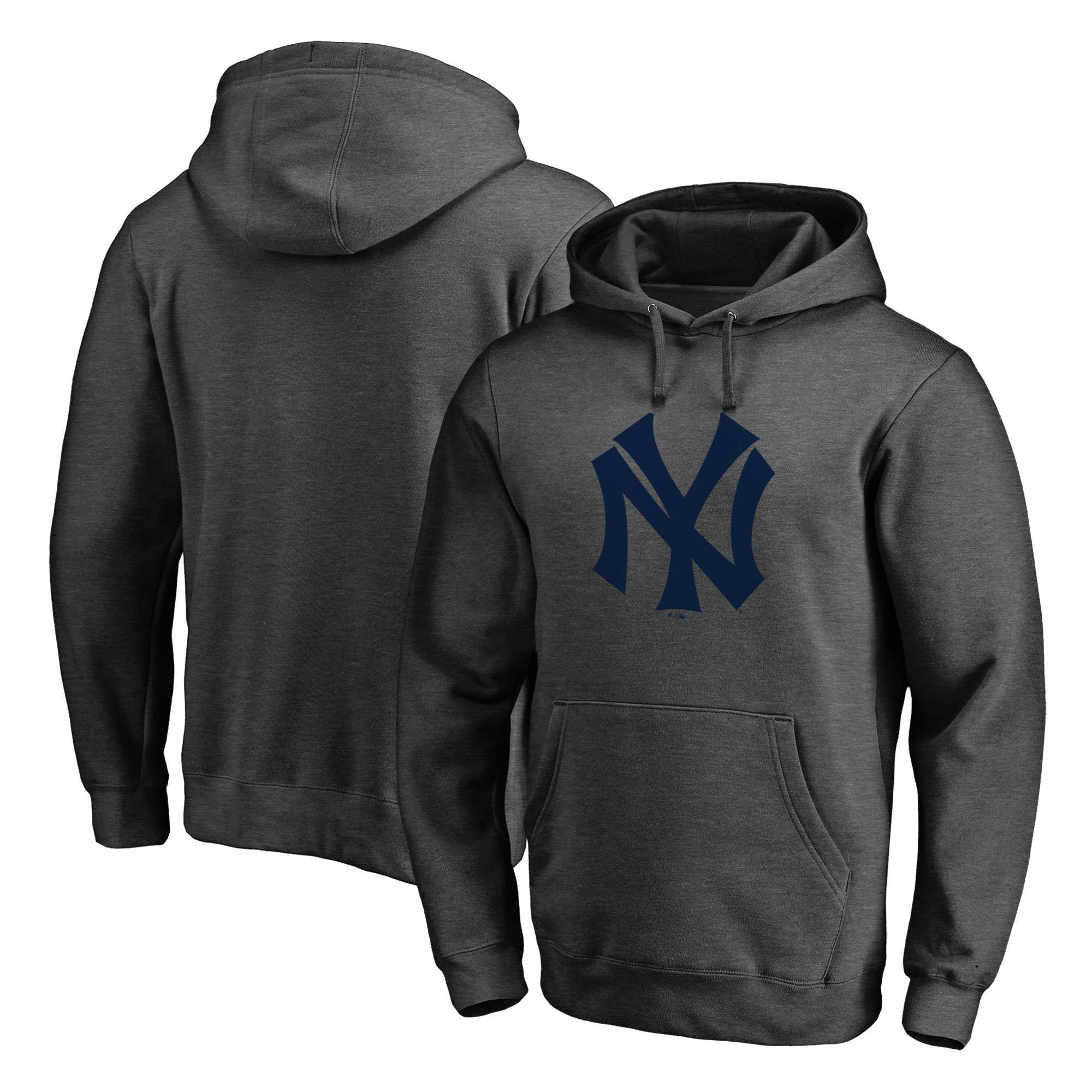 New York Yankees Fanatics Branded Cooperstown Collection Huntington Pullover Hoodie - Heathered Gray