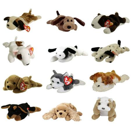 TY Beanie Babies - DOGS #1 (Set of 12)(Bernie, Bones, Fetch, Nanook, Spot,  Spunky +6)(7 5-9 inch)