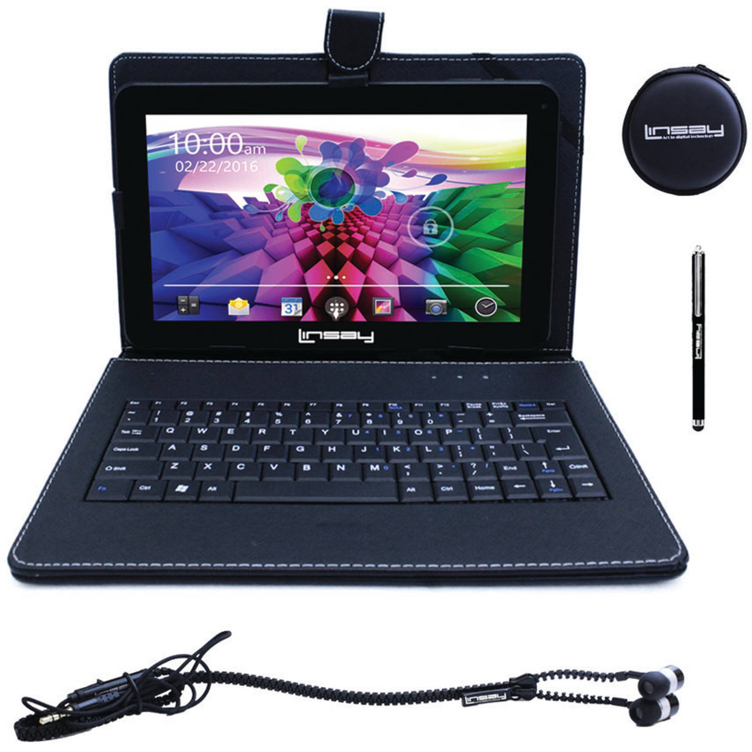 "LINSAY 10.1"" Touchscreen Quad-Core Tablet PC Featuring Android 4.4 (KitKat) Operating System Super Bundle with Black Keyboard, Earphones and Pen Stylus"