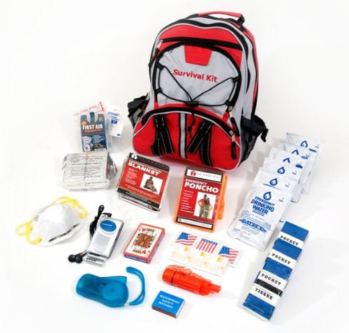 Guardian Survival Multi-Pocket Hiker's Emergency Kit, 1 Person, Red Backpack
