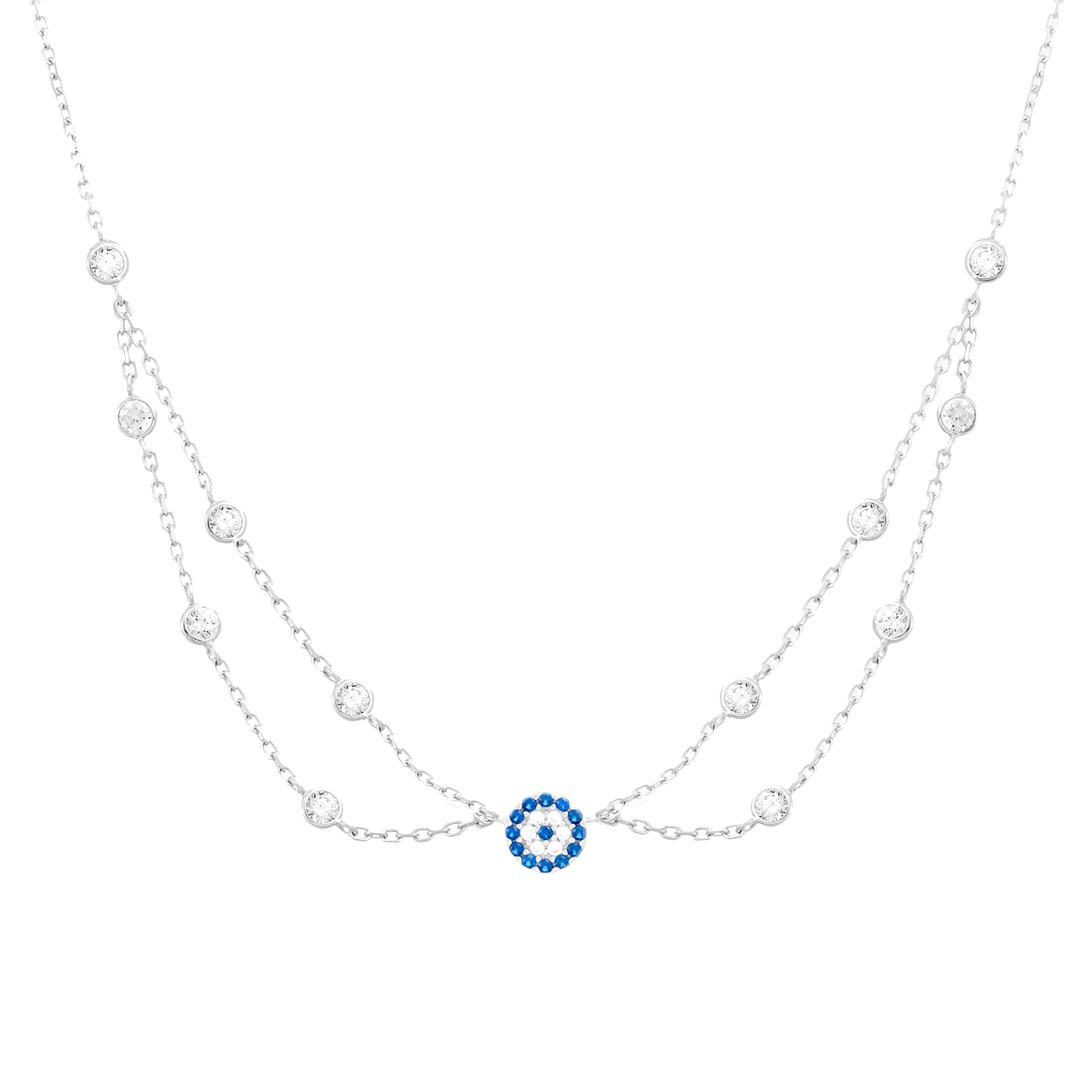 Cubic Zirconia Evil Eye Layered Choker Necklace in Sterling Silver