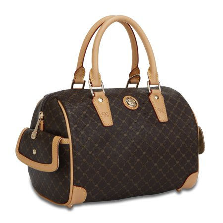 Signature Boston Bag Handbag Purse - Signature Brown (Small)