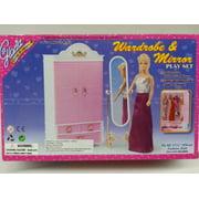 Gloria Wardrobe & Mirror for Barbie dolls and dollhouse Furniture