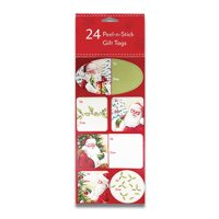 24 Christmas Gift Labels - Peel-n-Stick Holiday Gift Labels (Santa and Holly)
