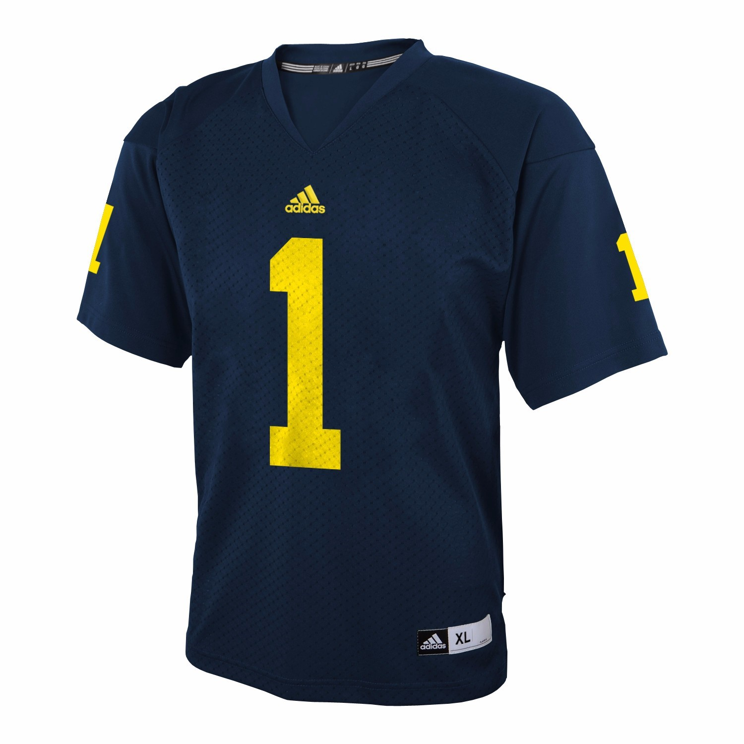Michigan Wolverines NCAA Adidas Navy Blue Official Home #1 Replica Football Jersey For Youth