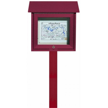 Aarco Products  Inc. OPLD1818SPP-7 Rosewood Slimline Series Top Hinged Single Door Plastic Lumber Message Center with Vinyl Posting Surface - Post Included - 18 in.H x 18 in.W