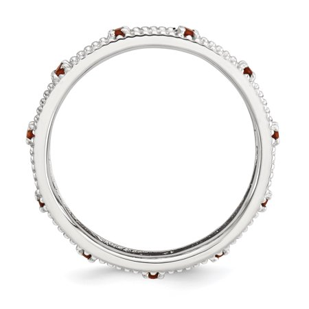 Sterling Silver Stackable Expressions Garnet Ring Size 7 - image 1 of 3