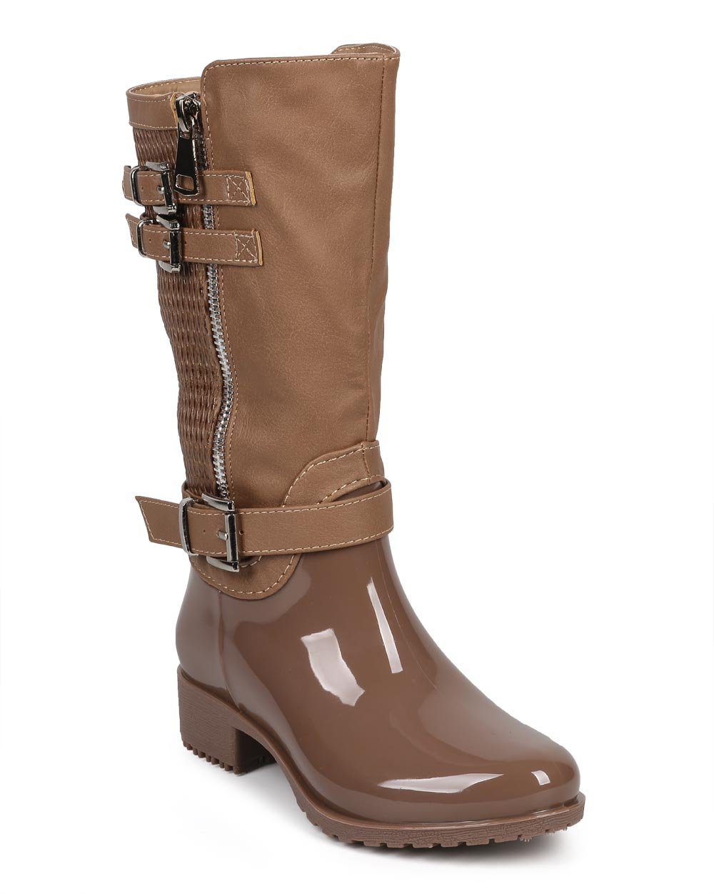 Link DF19 Mixed Media Leatherette Jelly Strappy Zip Riding Boot (Toddler/ Little Girl/ Big Girl)