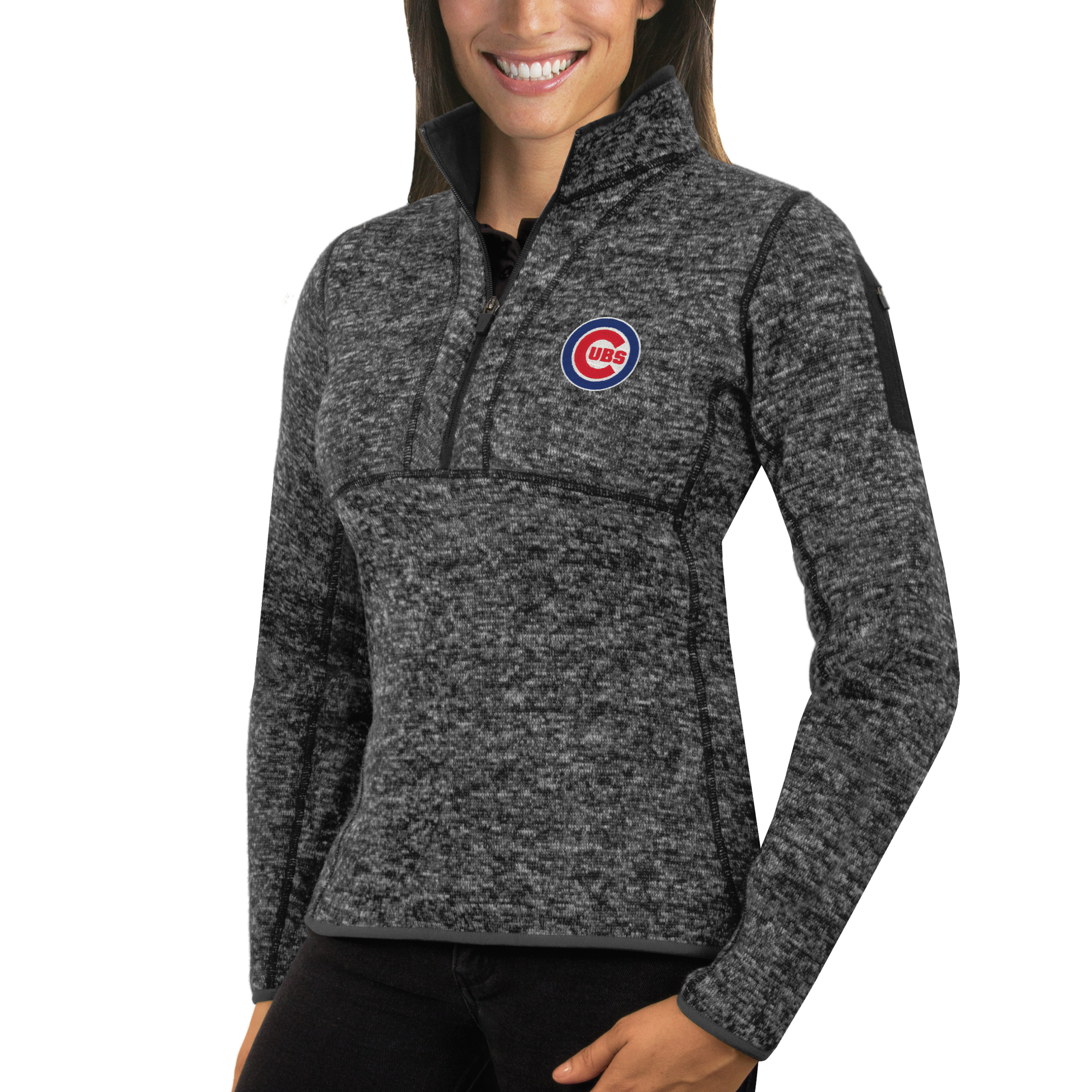Chicago Cubs Antigua Women's Fortune Half-Zip Pullover Sweater - Heathered Charcoal