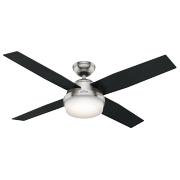 """Hunter 52"""" Dempsey Brushed Nickel Ceiling Fan with Light Kit and Remote"""