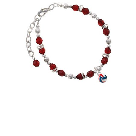 3-D Red White & Blue Volleyball Maroon Beaded Bracelet - Red White And Blue Bracelet