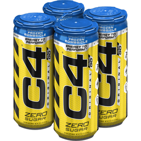 C4 Original Carbonated, Pre Workout + Energy Drink, 4-16oz Cans, Frozen