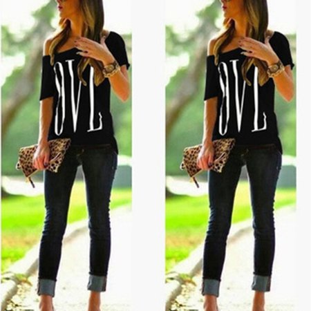 Womens Girls Summer Loose Casual Basic T-Shirt Off One Shoulder Tops Blouse Tops Black Size M