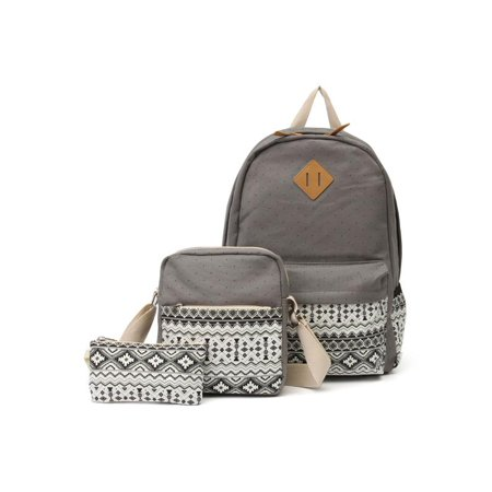 98c6aa72ab 3pcs Fashion Canvas School Backpack Travel Shoulder Satchel Bag Rucksack  Cross-body Bag Pen Bag - Walmart.com