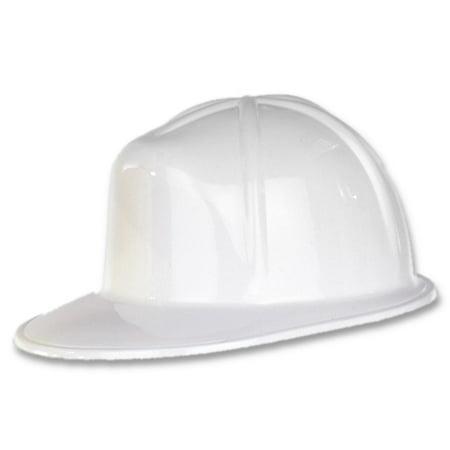 Club Pack of 48 White Plastic Construction Helmet Costume Accessory