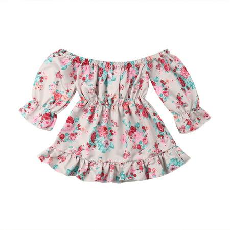 Toddler Baby Girls Floral Off Shoulder Long Sleeve Ruffle Beach Dress Sunsuit - Ruffled Sunsuit