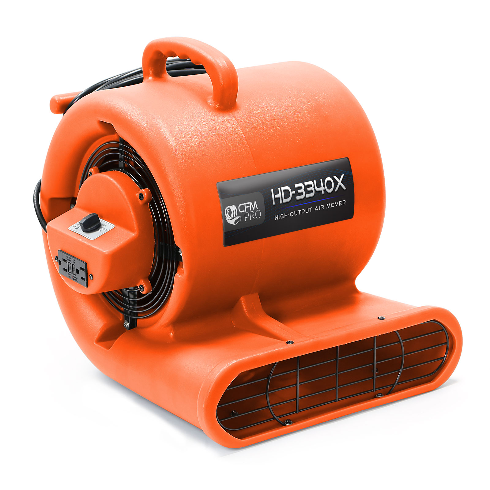 CFM PRO Air Mover Carpet Floor Dryer 3 Speed 1/3 HP Blower Fan with 2 GFCI Outlets - Stackable - Industrial Water Flood Damage Restoration