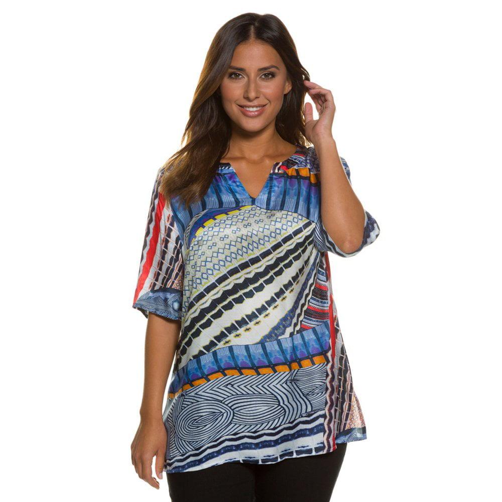 Ulla Popken Women's Plus Size Dressy Multicolor Silk Blen...