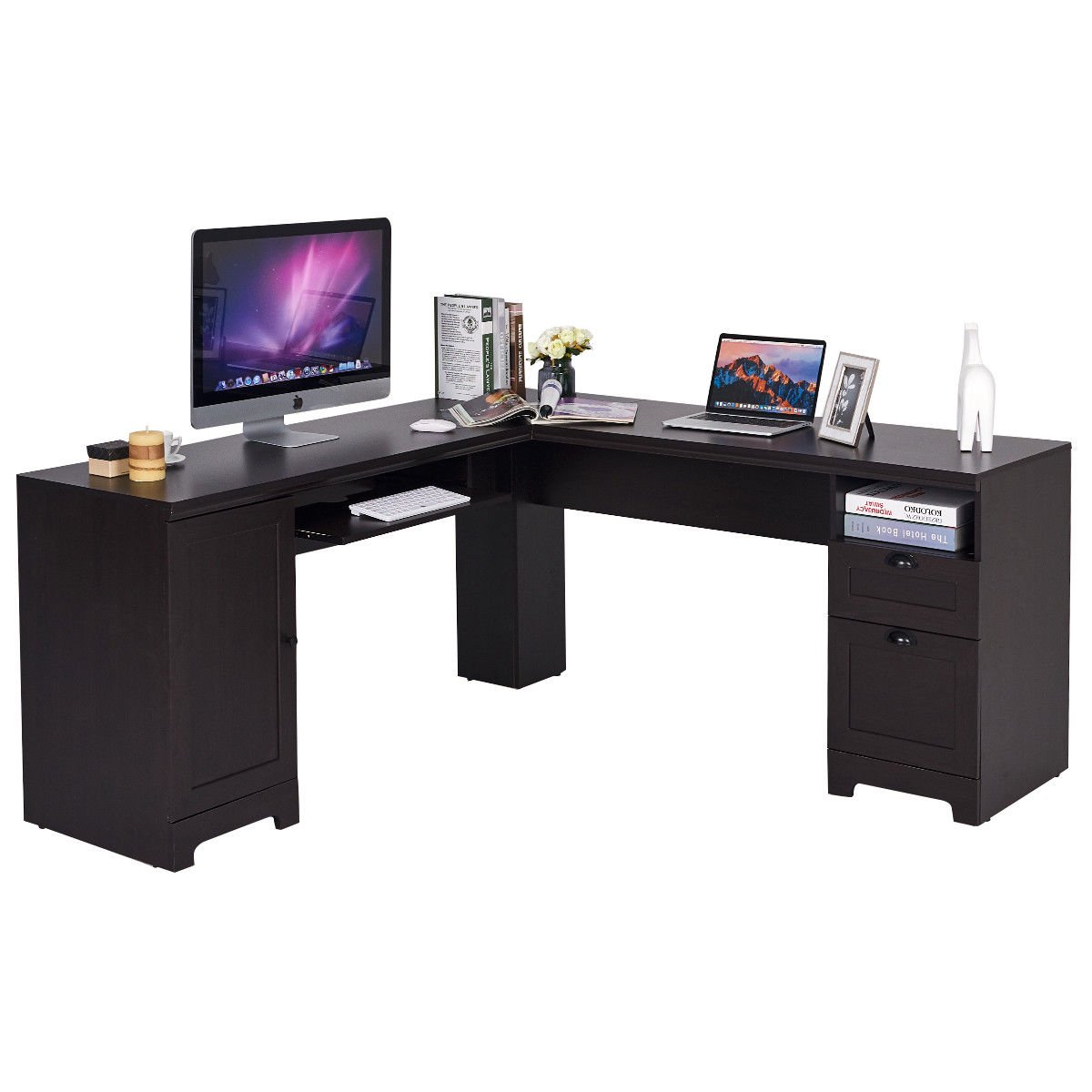 L Shaped Corner Computer Desk Writing Table Study Workstation W Drawers Storage
