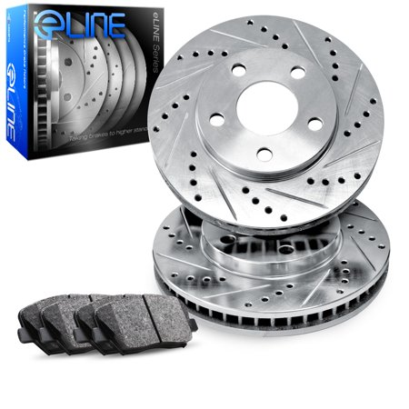 For 1998-1999 GMC Yukon Front eLine Drill Slot Brake Rotors+Semi-Met Brake Pads