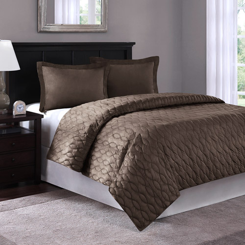 Braided Quilted Microsuede Bedding Comforter Mini Set