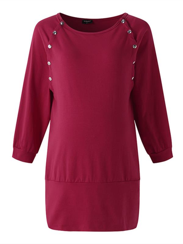 Maternity Nursing Tops Side Button Long Sleeve Round Collar Casual Soft