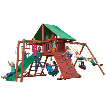 Gorilla Playsets Sun Valley II Wooden Swing Set with Monkey Bars, Tire Swing, and Green Vinyl Canopy