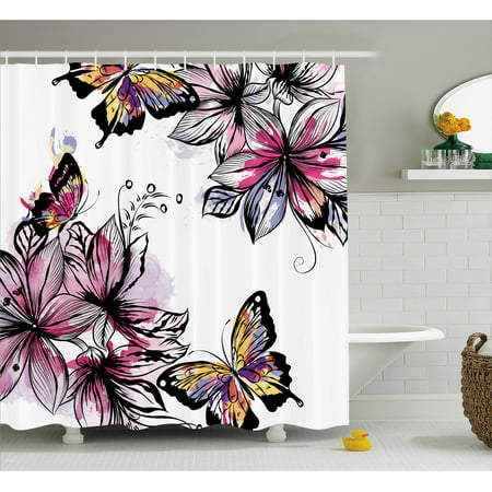 Floral Shower Curtain, Flower Blooms Botany Bouquets with Colorful Butterflies Paintbrush Watercolor Print, Fabric Bathroom Set with Hooks, Multicolor, by Ambesonne](Butterfly Bathroom)