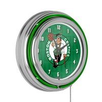 NBA Chrome Double Rung Neon Clock - City - Boston Celtics