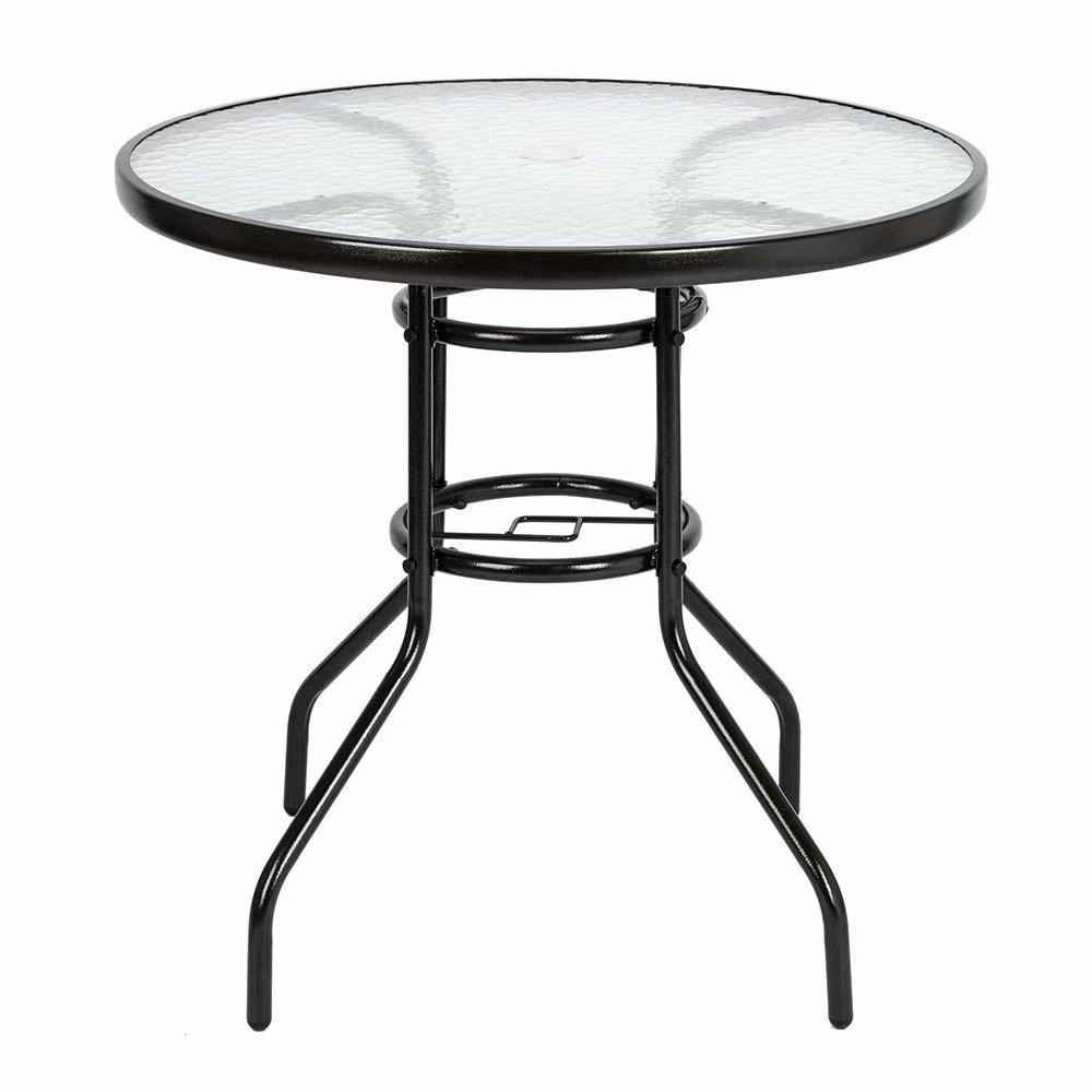 Clearance! Outdoor Dining Table Round Toughened Glass ...