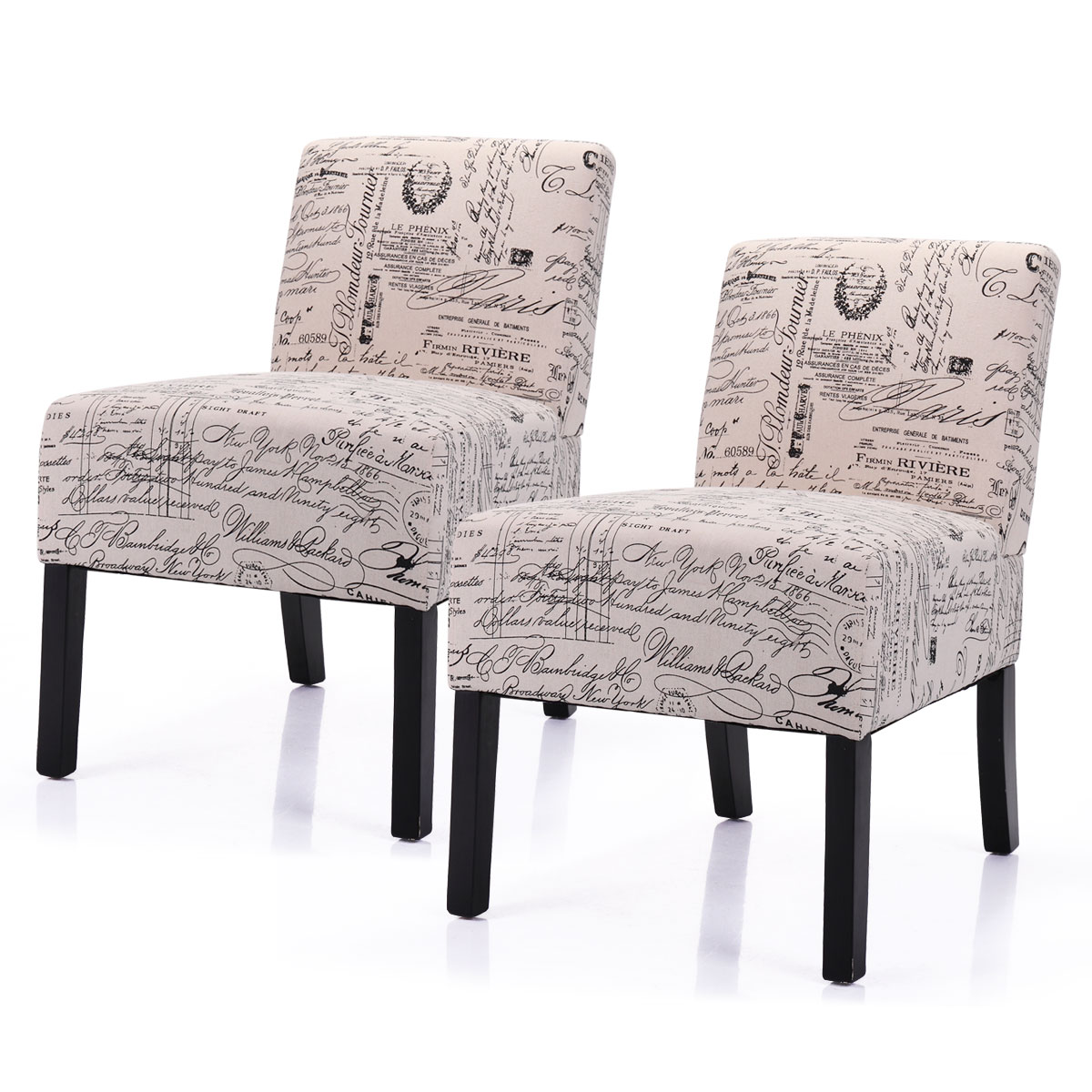Jaxpety Pack of 2 Large Size Single Leisure Sofa Accent Chair Armless with Solid Wood Legs Home Living Room, Beige