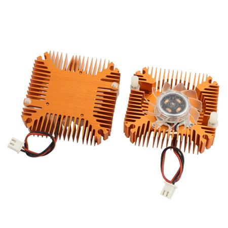 2pcs DC12V PC Golden Tone Aluminum Heatsink VGA Video Card Cooling Fan 55mm x 55mm - image 2 of 2