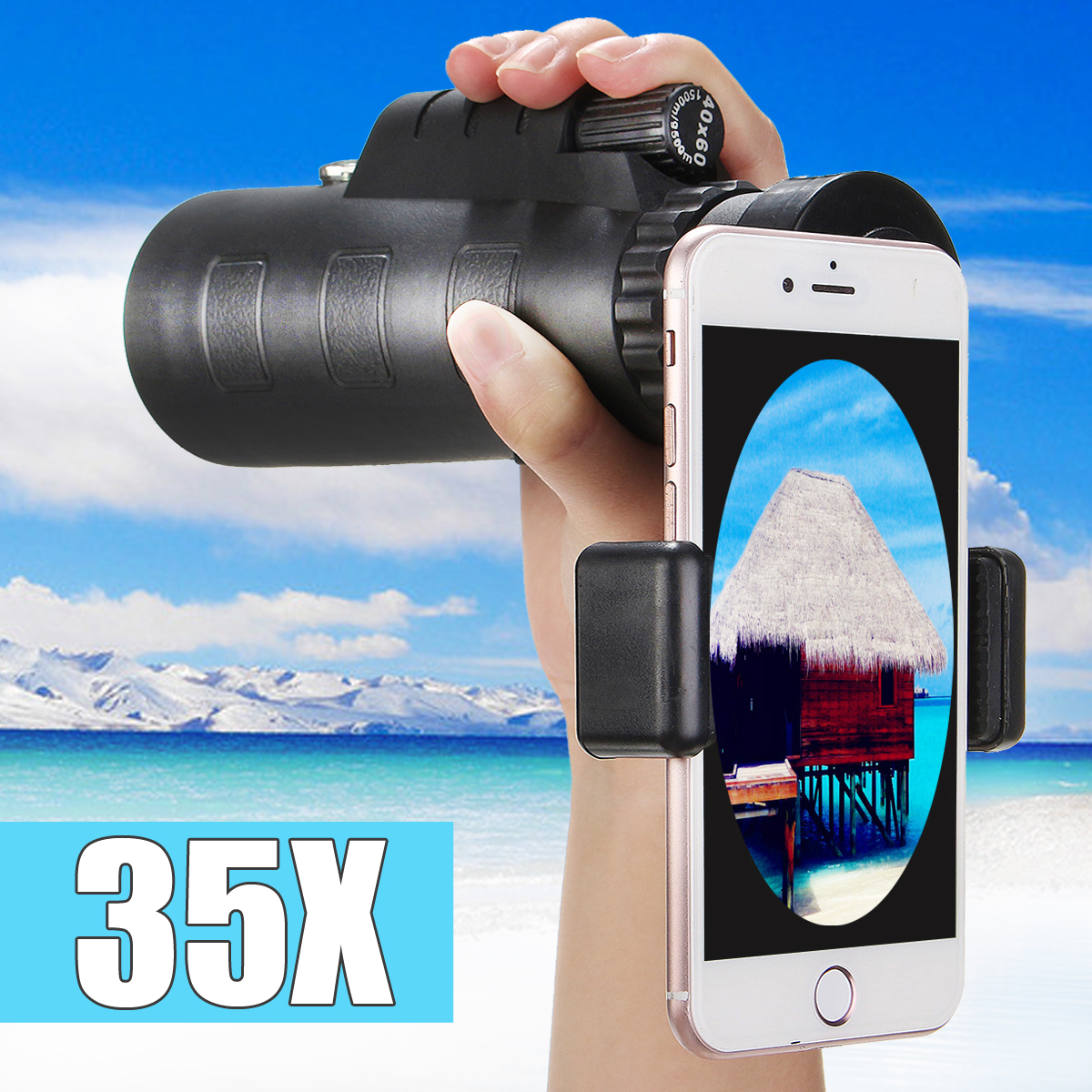 35x50 Telephoto Telescope Monocular Camera Lens + Phone Holder For Universal Smart Mobile Phones