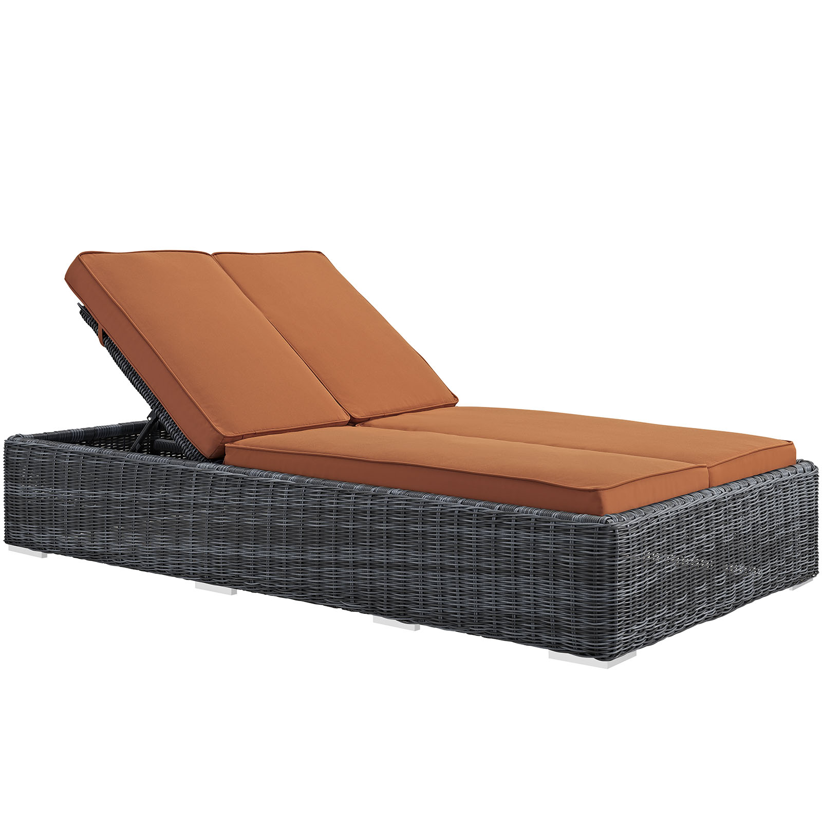 Modern Contemporary Urban Design Outdoor Patio Balcony Chaise Lounge Chair, Orange, Rattan