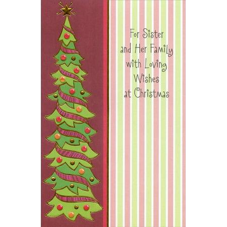 Freedom Greetings Thin Christmas Tree: Sister Christmas Card Tree Response Card