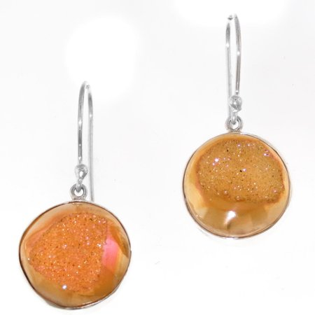 """Round Pink Titanium Drusy 925 Sterling Silver Earrings, 3/4"""""""