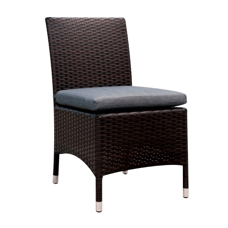 Furniture of America Mille Patio Wicker Chair in Gray