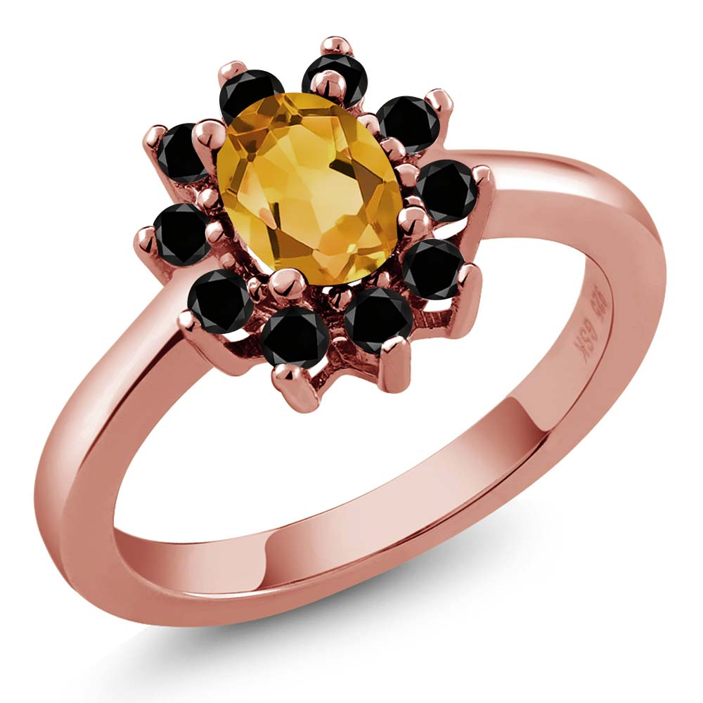 0.93 Ct Oval Yellow Citrine Black Diamond Rose Gold Plated Sterling Silver Ring