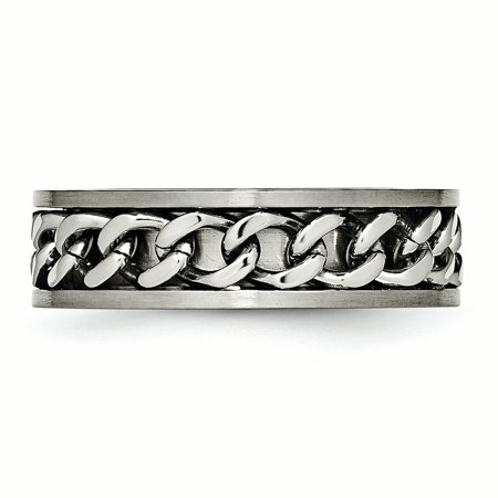 Titanium 7mm Chain Inlay Brushed Wedding Ring Band Size 7.00 Type Of Fashion Jewelry Gifts For Women For Her - image 1 de 10