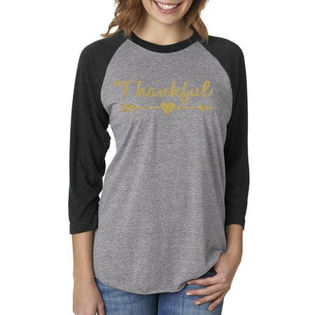 Thankful Gold Glitter Christmas Shirt Womens 3/4 Raglan Sleeve T-Shirt