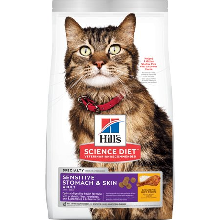 Hill's Science Diet Adult Sensitive Stomach & Skin Chicken & Rice Recipe Dry Cat Food, 15.5 lb