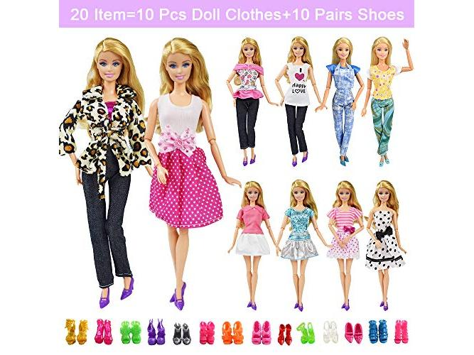 20-pcs Doll Dresses Clothes 10 Handmade Dress /& 10 shoes for 11.5-inch Dolls