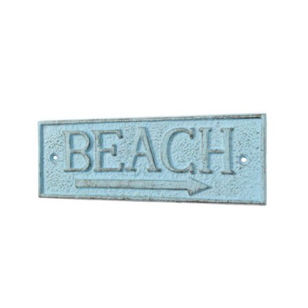 Rustic Light Blue Cast Iron Beach Sign 9